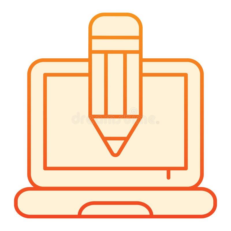 Ołówka i notatnika mieszkania ikona Kreatywnie zawodu pomarańczowe ikony w modnym mieszkaniu projektują Laptopu i ołówka gradient royalty ilustracja