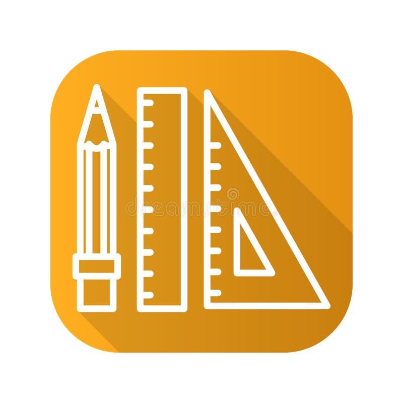 Ołówka i władcy cienia płaska liniowa długa ikona Wektoru kreskowy symbol royalty ilustracja