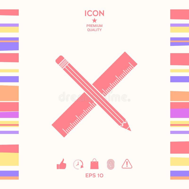 Ołówka i władcy ikona ilustracja wektor