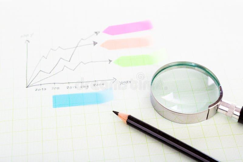 Ołówka i wykres siatki skala papier fotografia stock