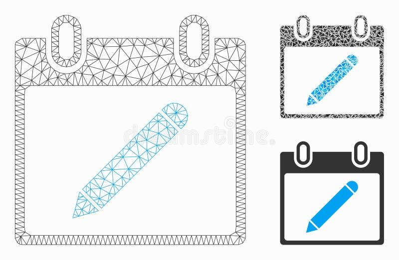Ołówka kalendarza strony siatki Drucianej ramy trójboka i modela mozaiki Wektorowa ikona ilustracja wektor