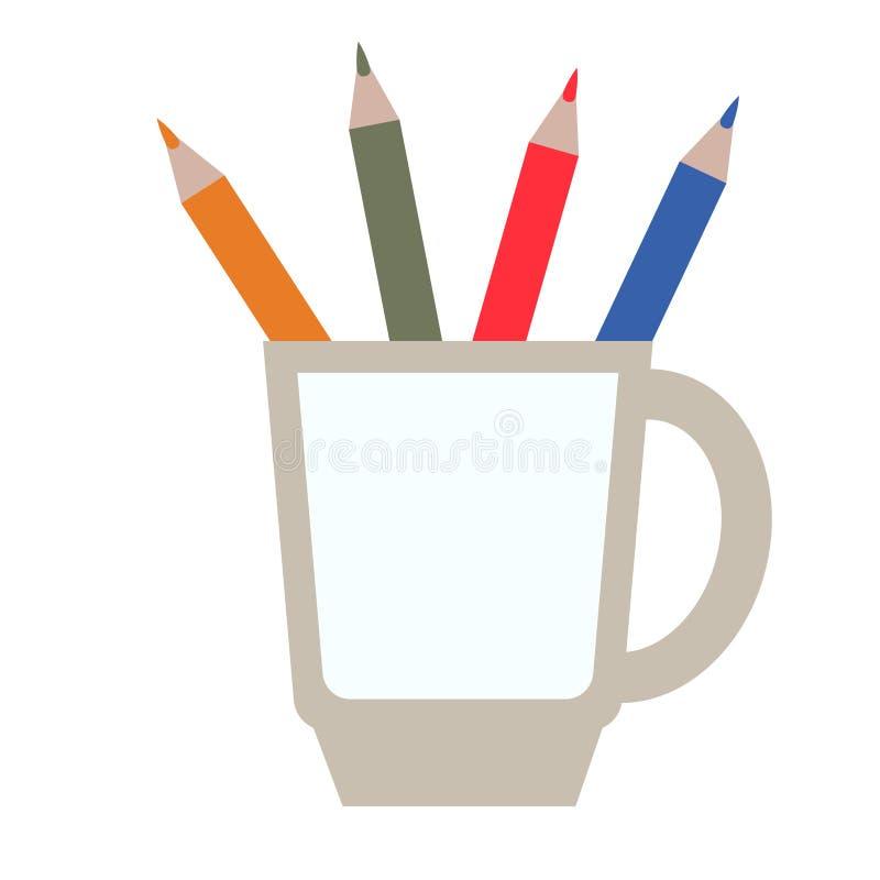 Ołówka właściciela płaska ilustracja na bielu royalty ilustracja