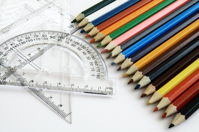 ołówka władców koloru zdjęcia stock