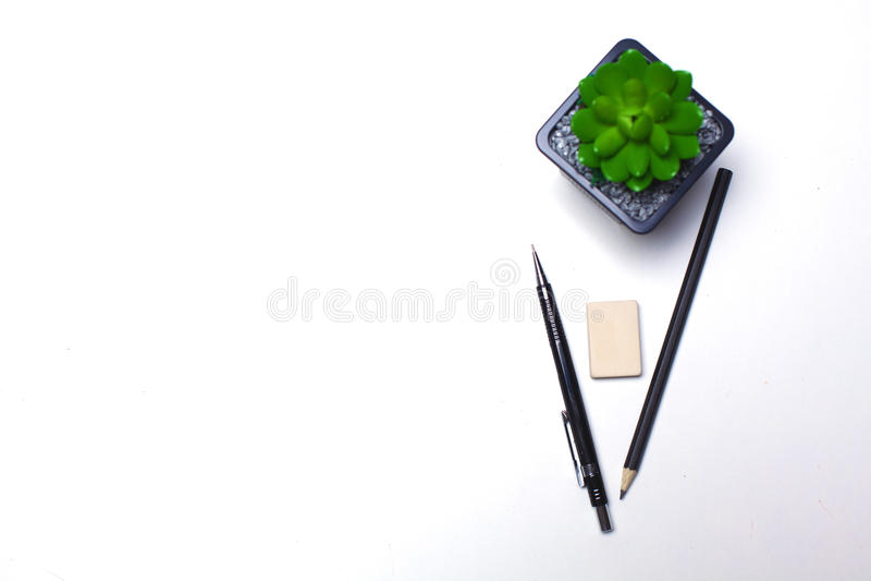 Ołówki i kaktusowy kłamstwo na desktop fotografia stock