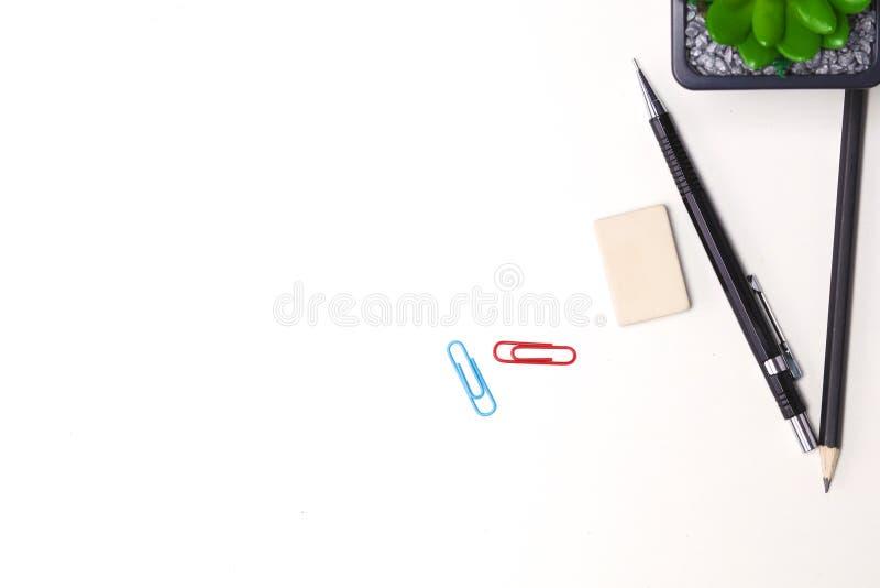 Ołówki i kaktusowy kłamstwo na desktop obrazy stock