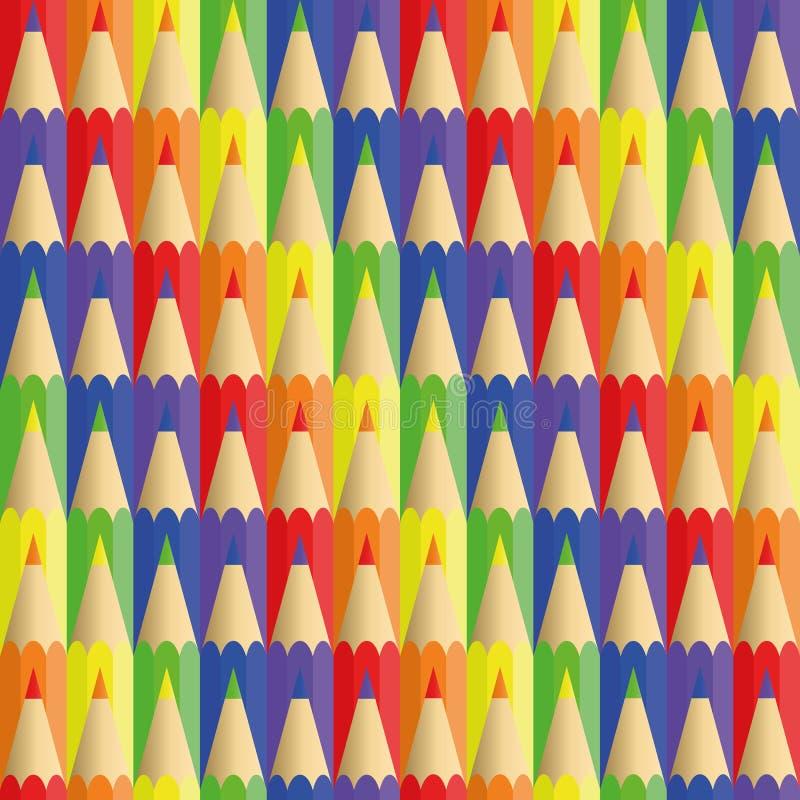 Ołówki sześć kwiatów - bezszwowa tekstura ilustracji