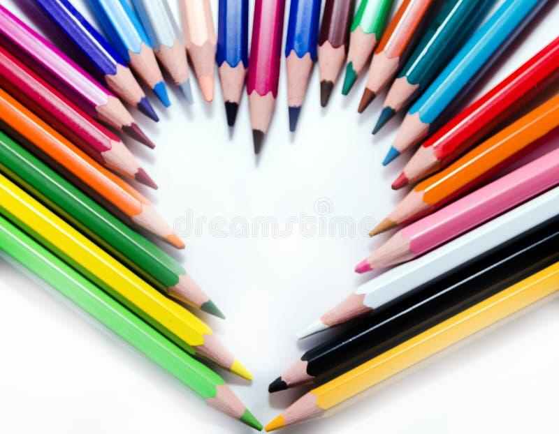 Ołówki tworzy serce obraz stock
