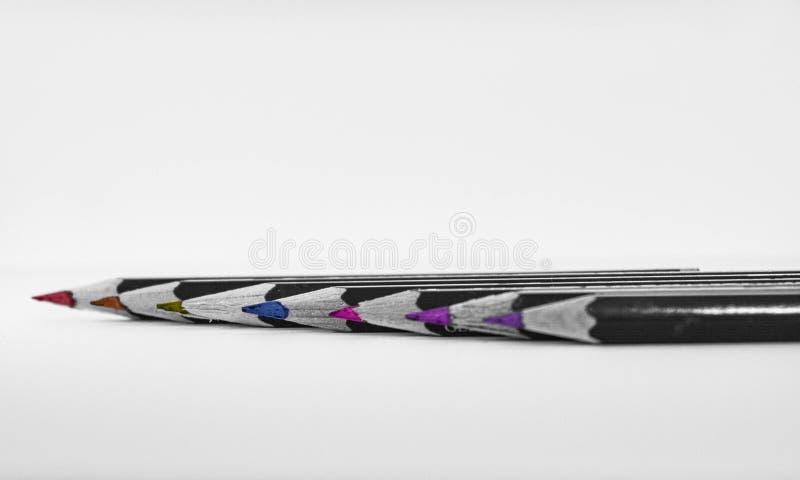 Ołówki w rytmu 7 kolorach zdjęcia royalty free