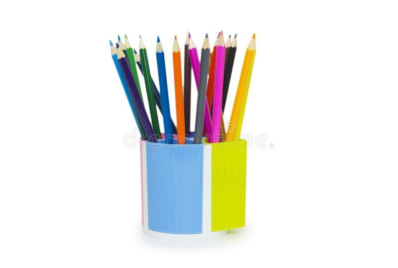 Ołówki w właścicielu odizolowywającym na biały tle zdjęcie stock