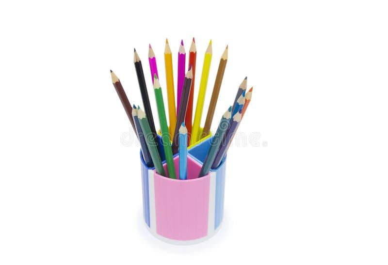 Ołówki w właścicielu odizolowywającym na białym tle obrazy stock