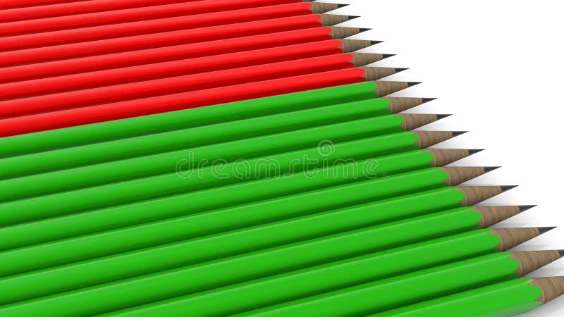 Ołówki w zielonych i czerwonych kolorach na bielu royalty ilustracja