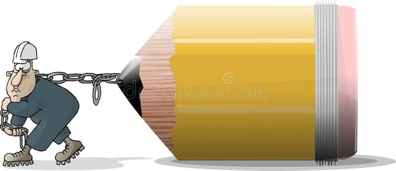 ołówkowa ciągarka royalty ilustracja