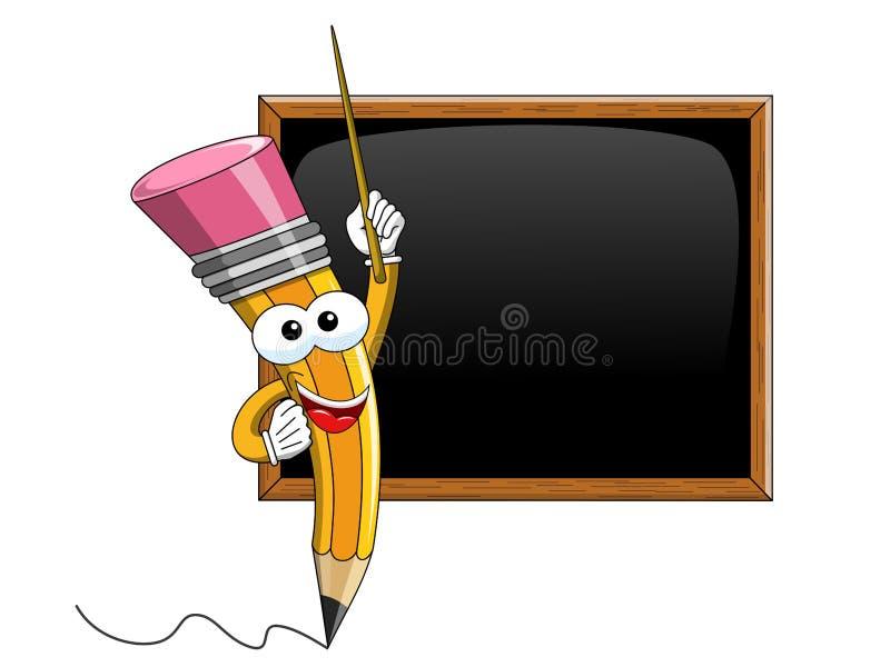Ołówkowego maskotki kreskówki kija nauczania pusty blackboard odizolowywający ilustracji