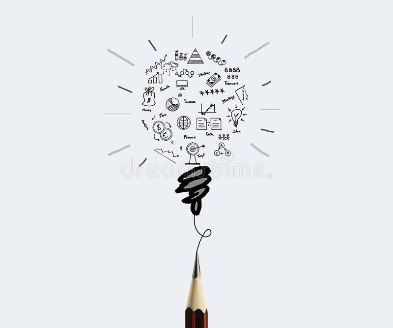 Ołówkowego rysunku biznesowy wykres z żarówki pojęciem dla pomysłu obraz stock