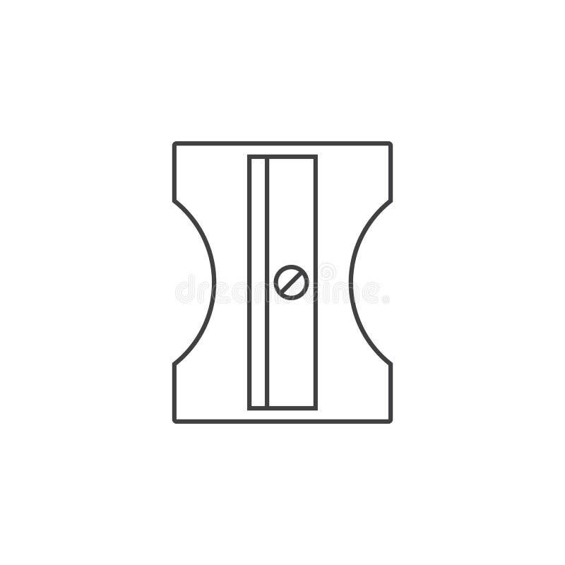 Ołówkowej ostrzarki cienka kreskowa ikona, stacjonarny konturu wektoru logo ilustracja wektor