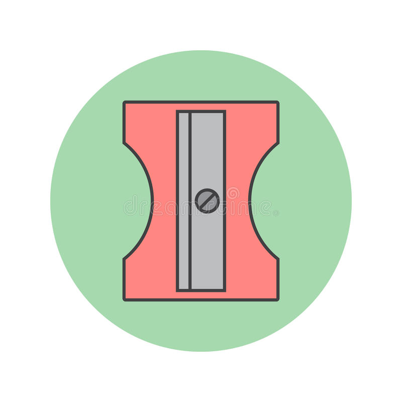 Ołówkowej ostrzarki cienka kreskowa ikona, stacjonarny wypełniający konturu vecto ilustracja wektor