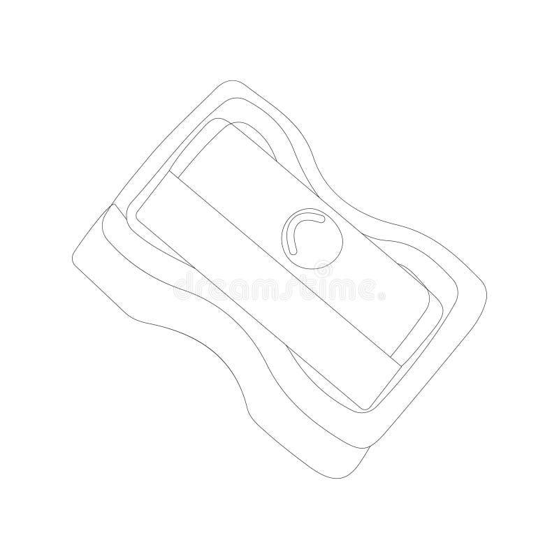 Ołówkowej ostrzarki ikona w konturu stylu odizolowywającym na białym tle ilustracji