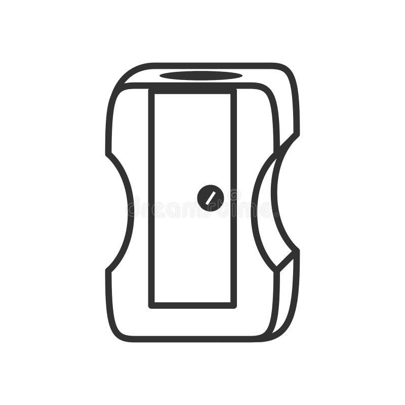 Ołówkowej ostrzarki konturu Płaska ikona na bielu ilustracji