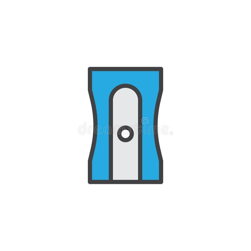 Ołówkowej ostrzarki konturu wypełniająca ikona ilustracji