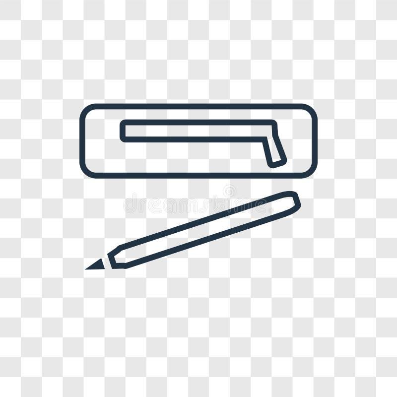 Ołówkowej skrzynki pojęcia wektorowa liniowa ikona na przejrzysty b ilustracja wektor