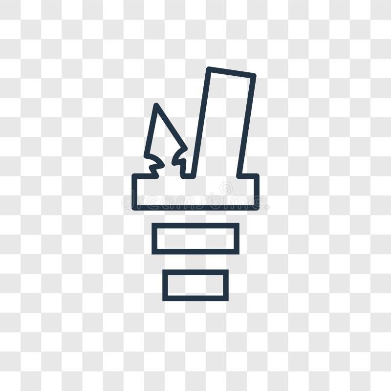 Ołówkowej skrzynki pojęcia wektorowa liniowa ikona na przejrzysty b royalty ilustracja