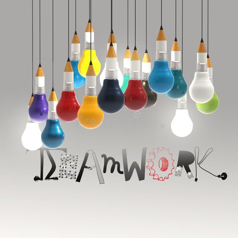 Ołówkowy lightbulb 3d i projekta słowo praca zespołowa ilustracji