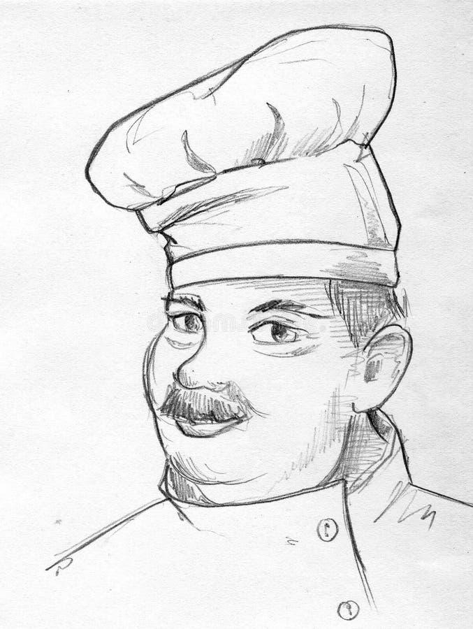 Ołówkowy nakreślenie kucharz ilustracja wektor