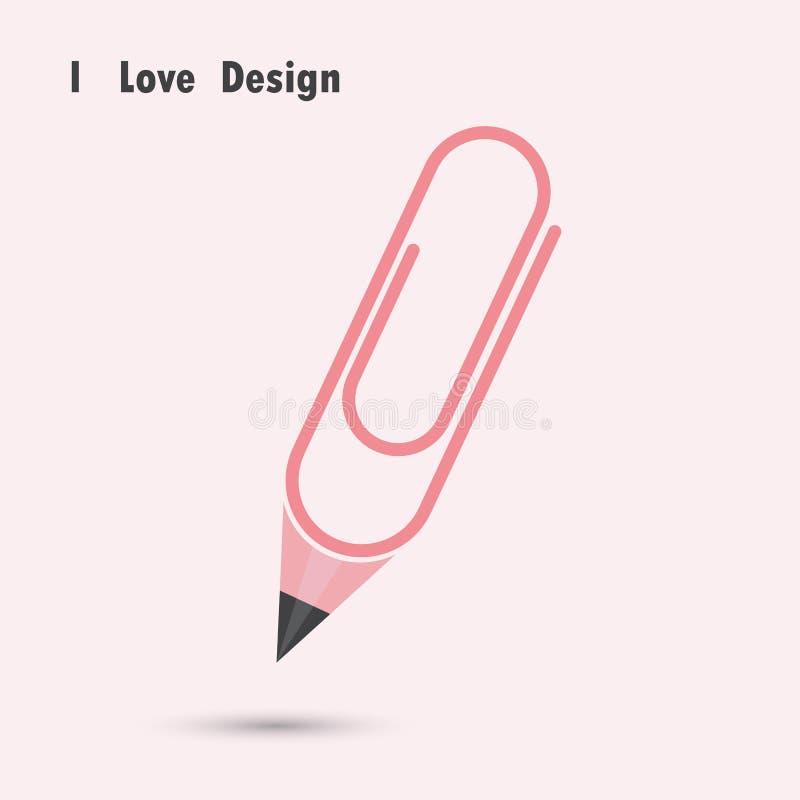 Ołówkowy papierowej klamerki kształt z kocham projekta pojęcie ilustracja wektor