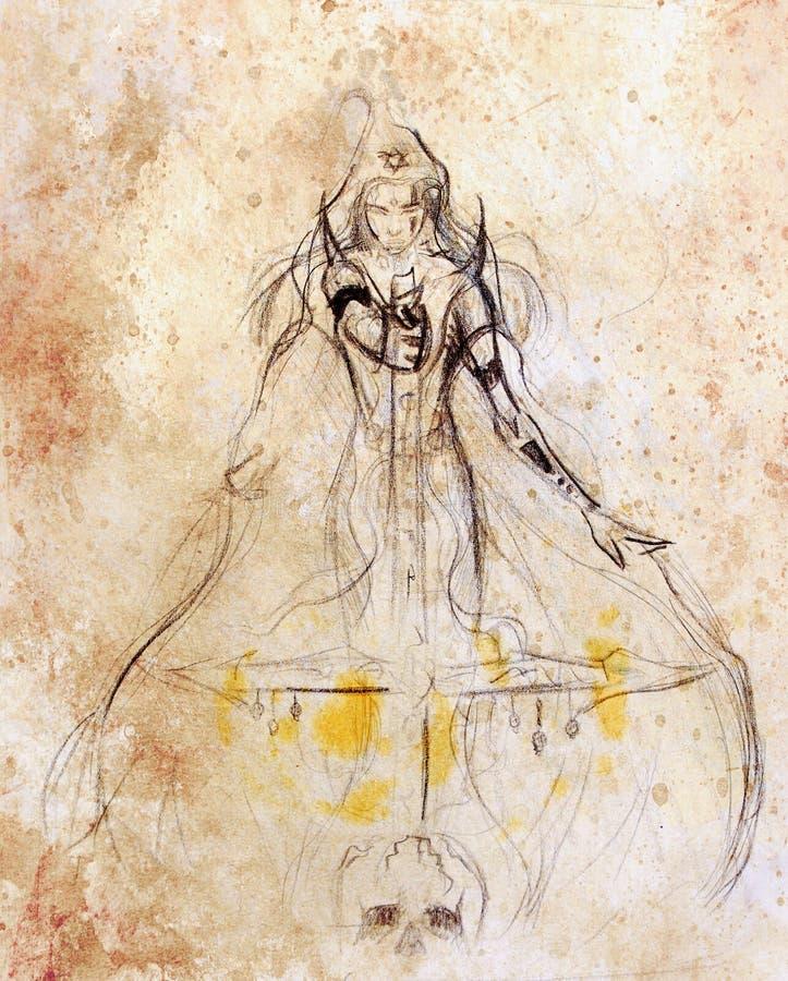 Ołówkowy rysunek na starym papierze Kobiety warior Sepiowy kolor royalty ilustracja