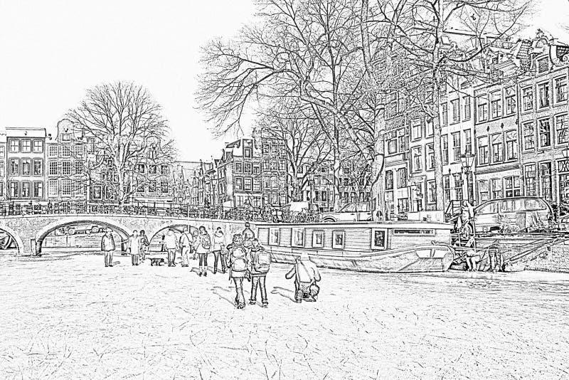 Ołówkowy rysunek od śnieżnego Amsterdam w holandiach zdjęcia royalty free