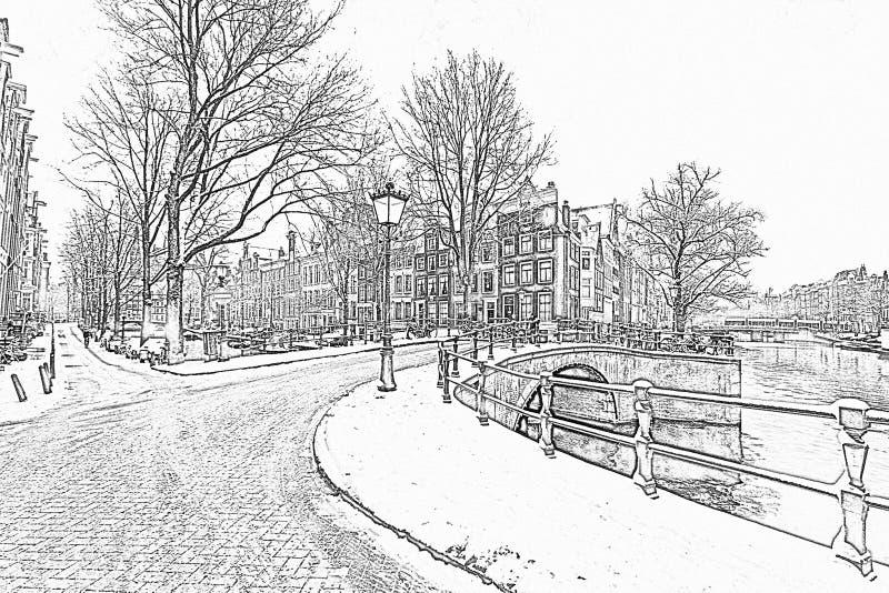 Ołówkowy rysunek od śnieżnego Amsterdam w holandiach obrazy royalty free