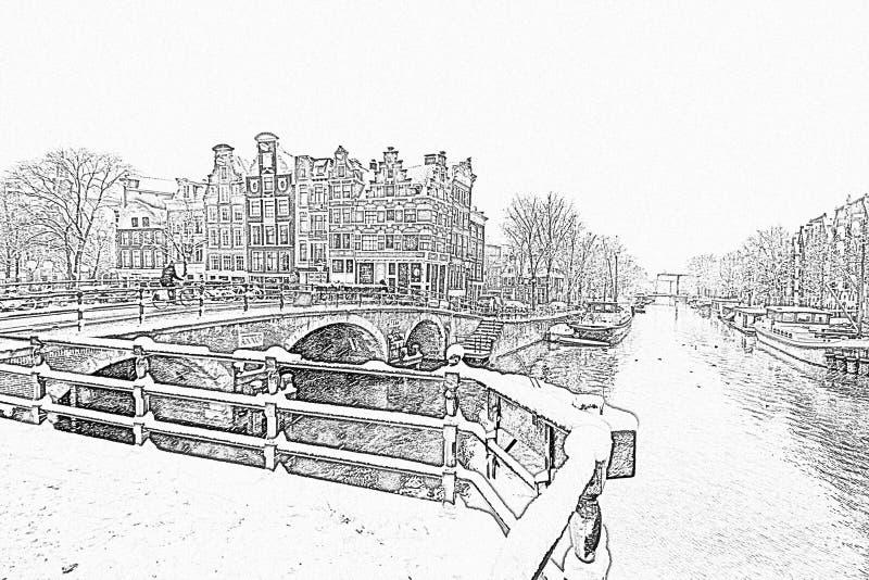 Ołówkowy rysunek od śnieżnego Amsterdam w holandiach zdjęcia stock
