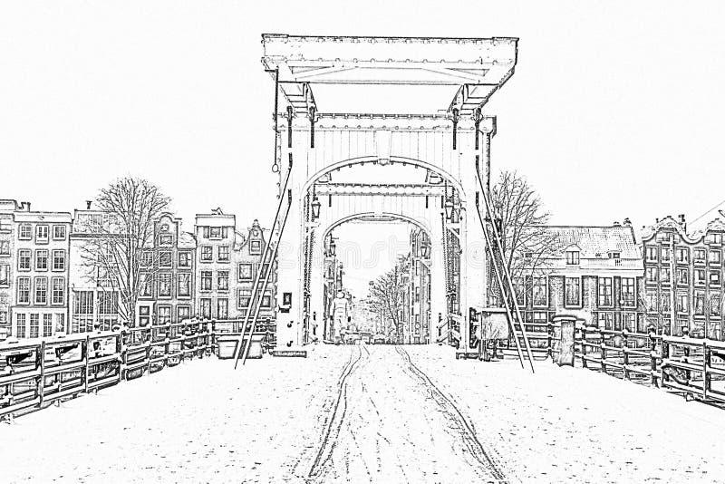 Ołówkowy rysunek od śnieżnego Thiny mosta w Amsterdam holandiach obrazy royalty free