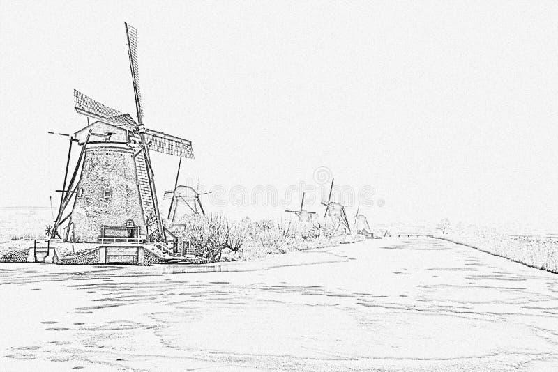 Ołówkowy rysunek od traditonal wiatraczków w holandiach fotografia royalty free