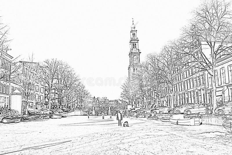 Ołówkowy rysunek od zimy w Amsterdam holandie obraz stock