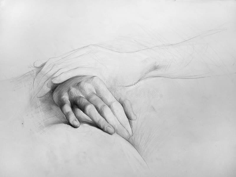 Ołówkowy rysunek ręki, skład, Anatomic rysunek (,) royalty ilustracja