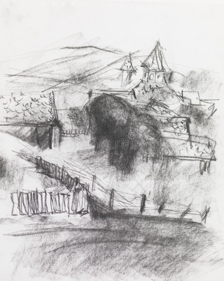 Ołówkowy rysunek wioska royalty ilustracja