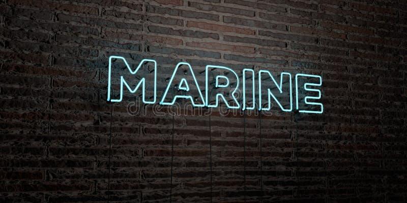 ŻOŁNIERZ PIECHOTY MORSKIEJ - Realistyczny Neonowy znak na ściana z cegieł tle - 3D odpłacający się królewskość bezpłatny akcyjny  ilustracja wektor