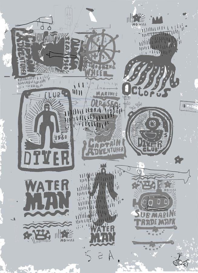 Żołnierza piechoty morskiej set ilustracja wektor