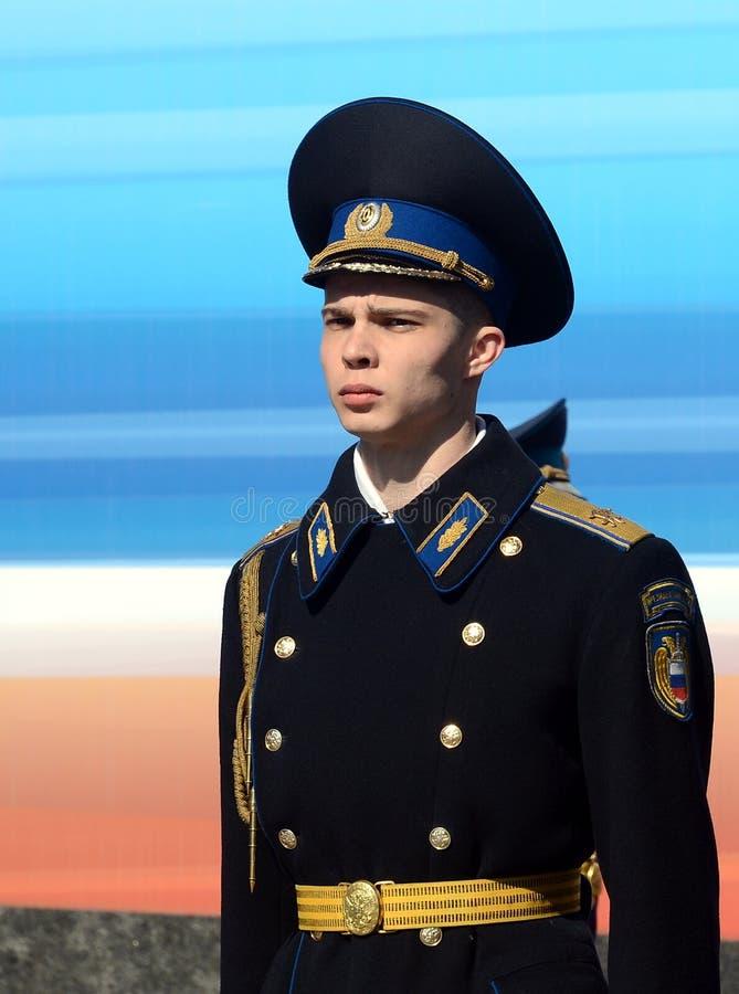 Żołnierze prezydencki pułk na parady próbie na placu czerwonym obraz stock