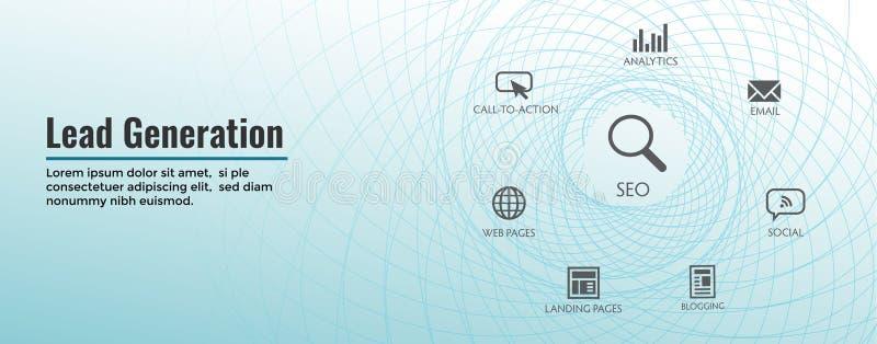 Ołowiany pokolenie sieci chodnikowa sztandar - Przyciąga prowadzenia dla cel widowni przyrostowy celny przyrost & sprzedaże ilustracji