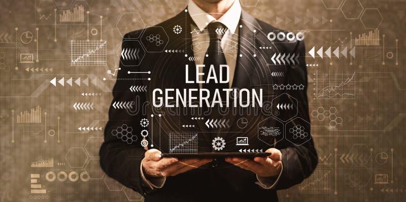 Ołowiany pokolenie z biznesmenem trzyma pastylkę komputerowa ilustracji