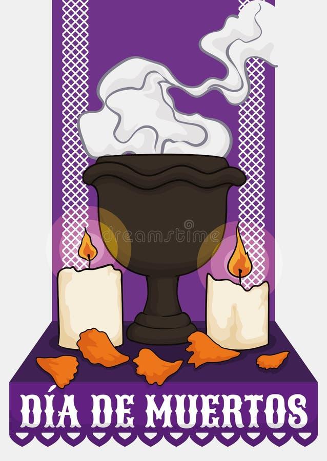 Ołtarz dla & x22; Dia De Muertos& X22; z kadzidłem, świeczkami i płatkami, Wektorowa ilustracja ilustracja wektor