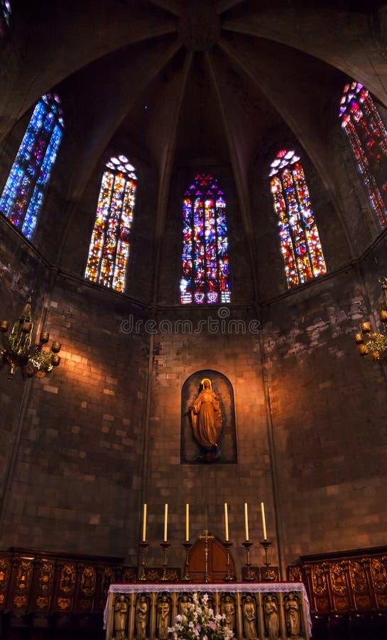 Ołtarzowa Stara Kamienna Bazylika St Maria Del Pi Barcelona zdjęcie royalty free