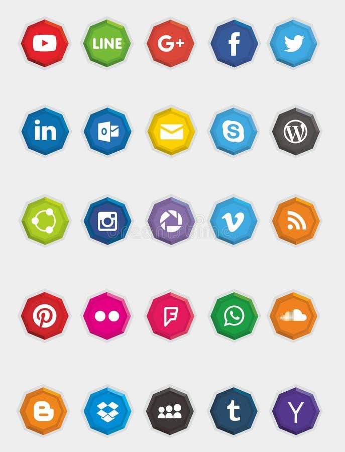 Ośmiobok strony internetowej & środków Ogólnospołeczne ikony royalty ilustracja