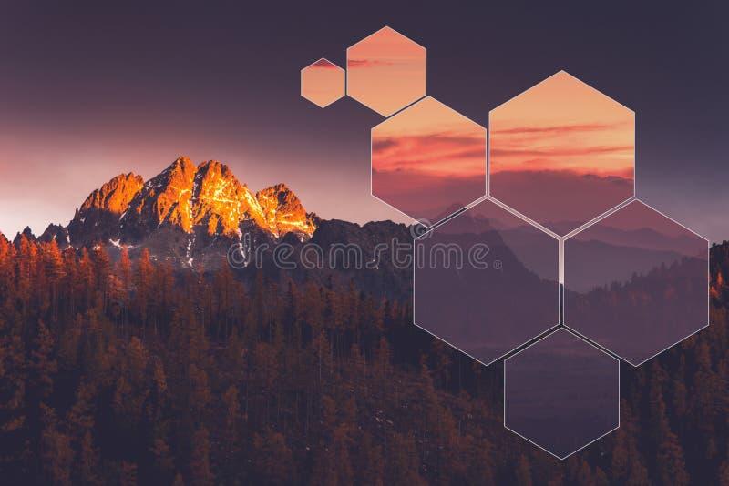Ośmioboka geometryczny krajobraz, polyscape fotografia royalty free