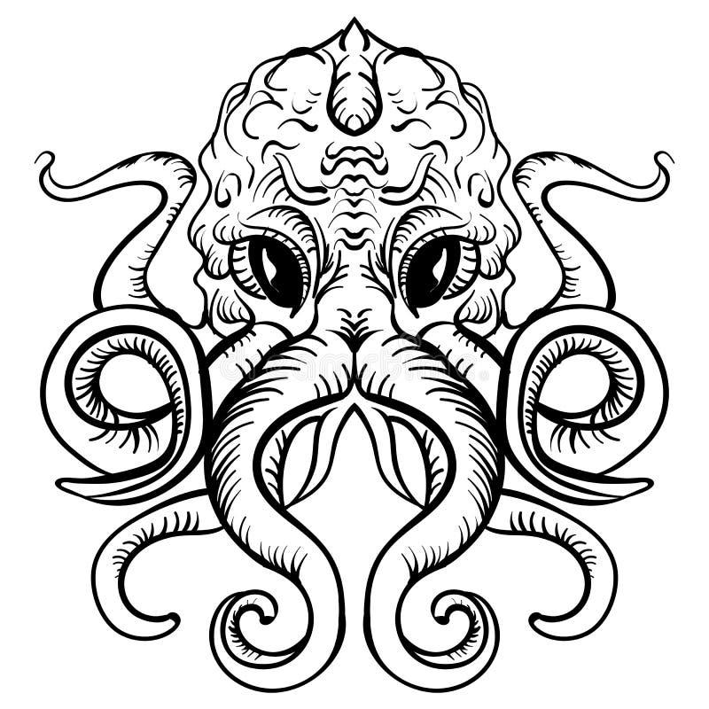Ośmiornica atramentu tatuażu nakreślenia Ilustracyjna ośmiornica ilustracji