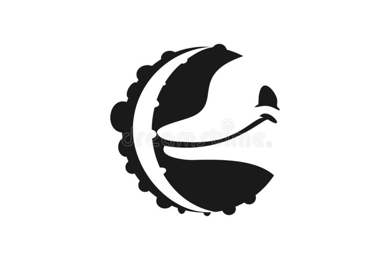 Ośmiornica cieki I delfinu Kierowniczy logo, Projektują inspirację Odizolowywającą na Białym tle royalty ilustracja