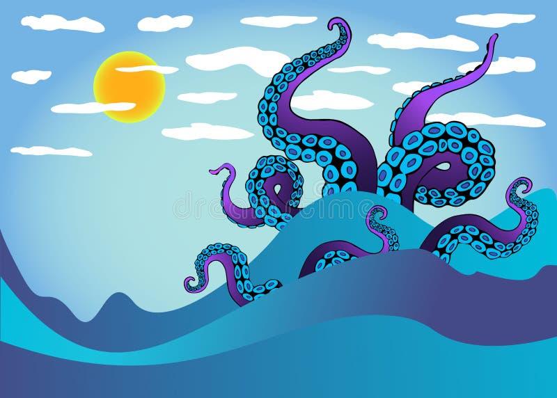 Ośmiornica czułek w dennych falach Podwodny oceanu potwór Kraken ilustracji