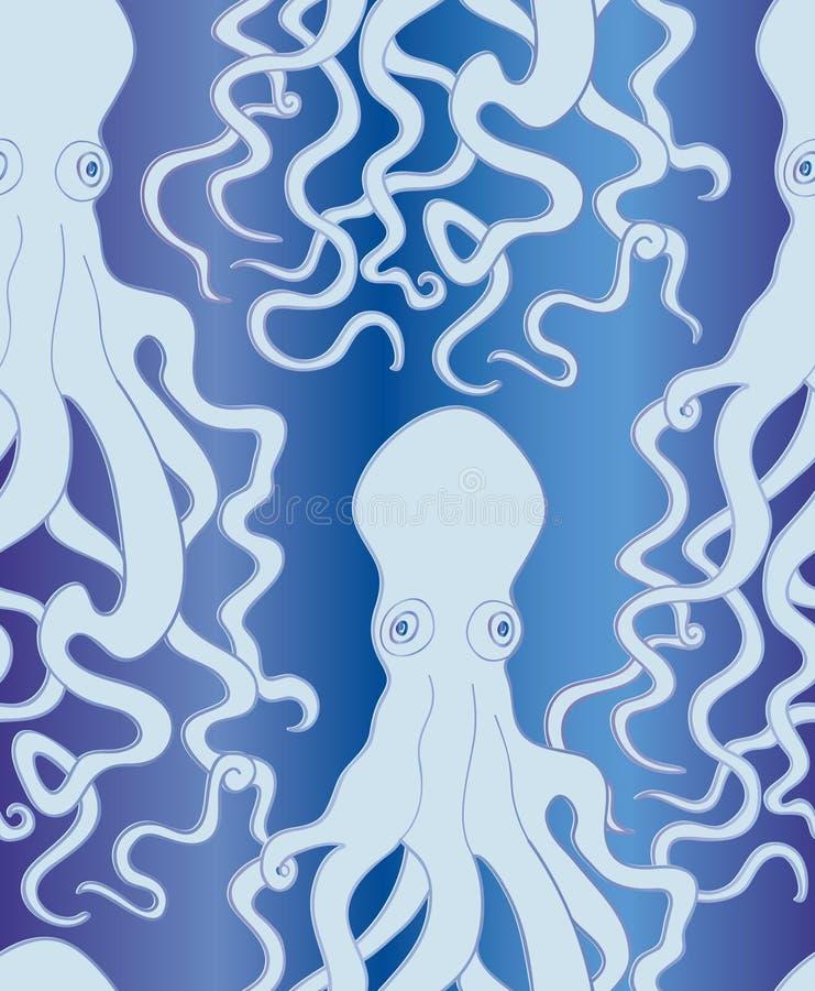 Ośmiornica Dennego potwora ornamentu Morskiego życia bezszwowy deseniowy tło ilustracji